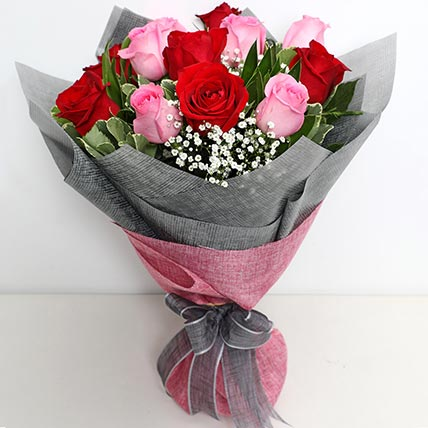 6 Pink And 6 Red Roses Bunch: Valentines Gifts Delivery in Bahrain