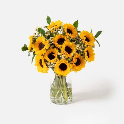 Striking Sunflowers Vase Arrangement: Flower Shop in Bahrain