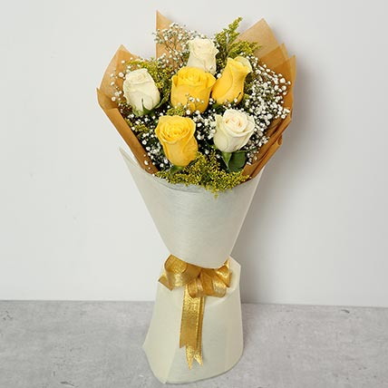 White and Yellow Roses Bouquet EG: Egypt Gift Delivery
