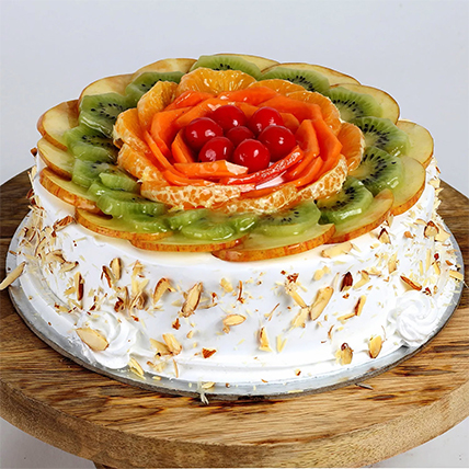 Creamy Vanilla Fruit Cake: Gift Delivery to India