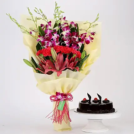 Pink and Purple Flowers and Truffle Cake Combo: Cake Delivery to India