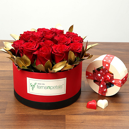 20 Red Roses With Belgium Chocolates: Valentine Gifts