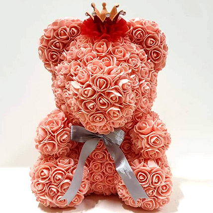 Artificial Roses Peach Teddy With Crown: