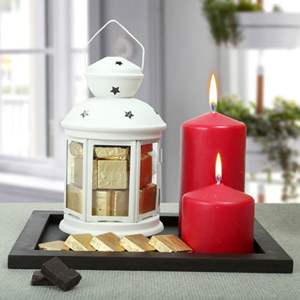 Assorted Chocolates and Red Candles Combo: Home Decor Items