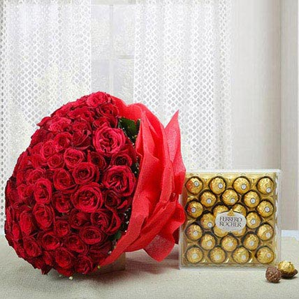 Attractive Combo of Love: Flowers & Chocolates