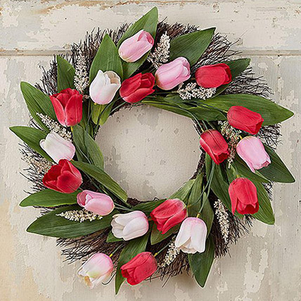 Beautiful Wreath Of Tulips and Veronica: Condolence Flowers Delivery