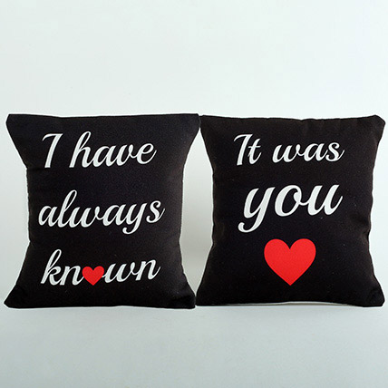 Black Couple Cushions: Promise Day Gifts