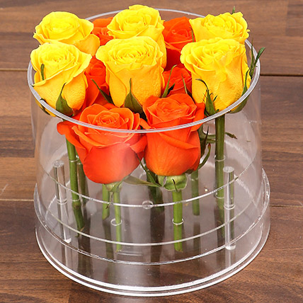 Bright Orange and Yellow Roses: Flower in a Box
