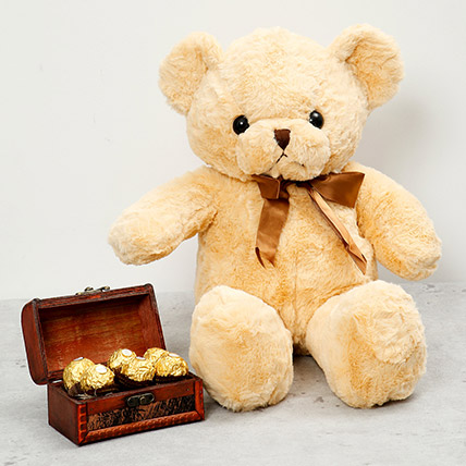 Brown Teddy Bear and Wooden Chocolate Box: Chocolates for Him