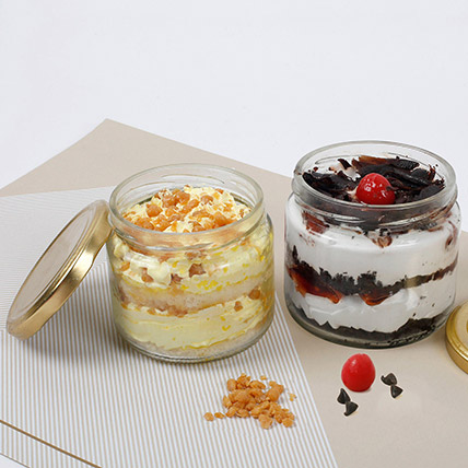 Butterscotch and Black Forest Jar Cakes: New Arrival Gifts in Dubai