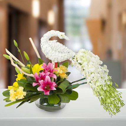Dazzling White Floral Peacock: National Day Flowers