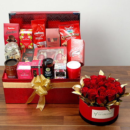 Delightful Food Hamper With Red Roses: Valentine Gift Hampers