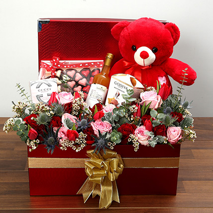 Delightful Hamper With Red Teddy Bear: Valentine Day Gift Hampers for Wife