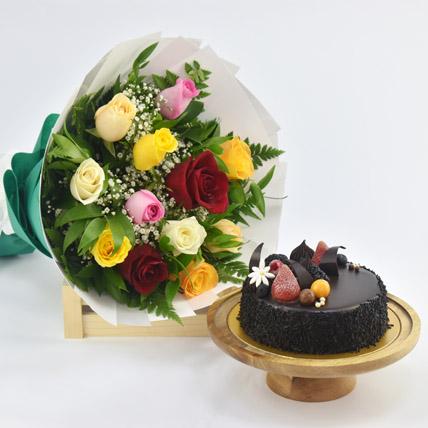 Dozen Multi Roses with Fudge Cake: Flowers & Cakes