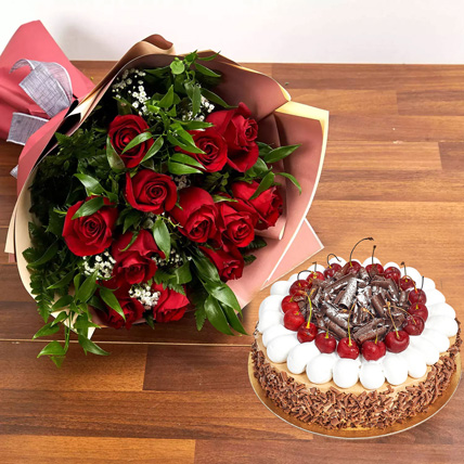 Dozen Roses with Blackforest Cake: Valentine Flowers & Cakes