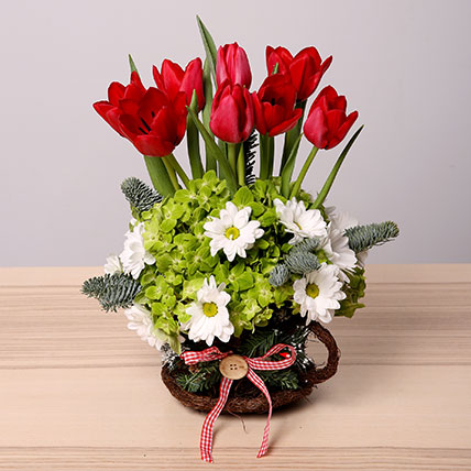 Exotic Red and White Flower Arrangement: