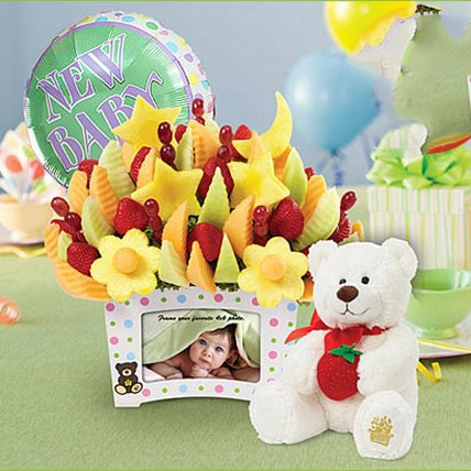 First Moments Bouquet with Balloon and Plush Bear: Newborn Baby Gift Ideas