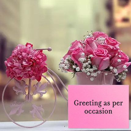 Floral Cycle Arrangement With Greeting Card: Birthday Flowers & Greeting Cards