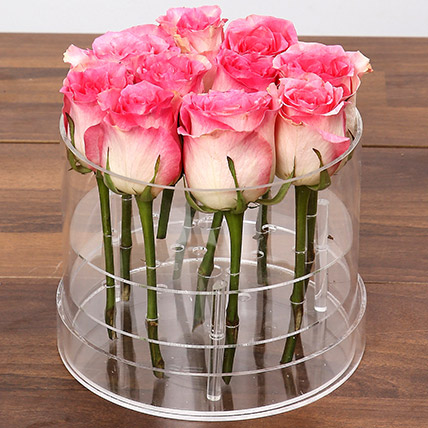 Graceful Pink Rose Box: Flower in a Box