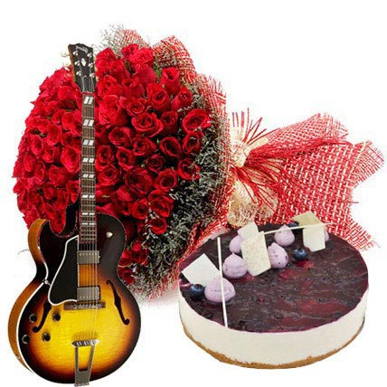 Grand Celebration with Cake: Valentines Day Flowers & Guitarist