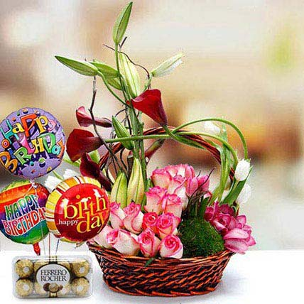 Joyful Surprise Combo: Basket Arrangements
