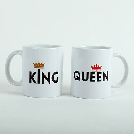 King N Queen Couple Mugs: Valentine Gifts for Wife