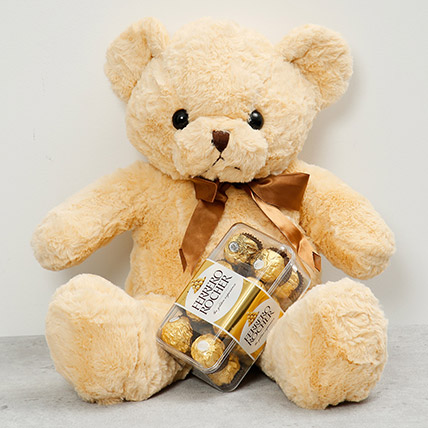 Light Brown Teddy Bear and Chocolates: