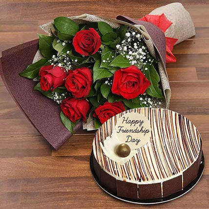 Marble Cake  and Red Roses Combo: Friendship Day Gift Ideas 2019