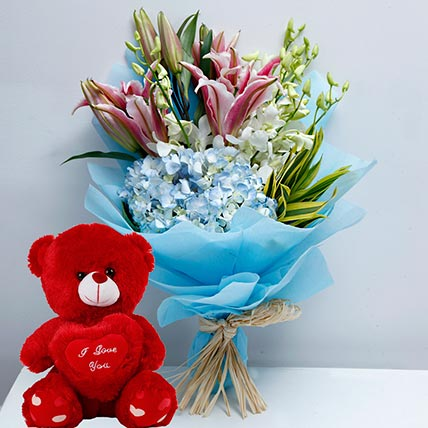 Mixed Flowers and Teddy Combo: Flowers & Teddy Bears