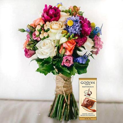 Mixed Flowers Bouquet and Chocolate Combo: