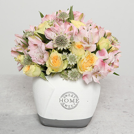 Mixed Flowers In Designer Vase: