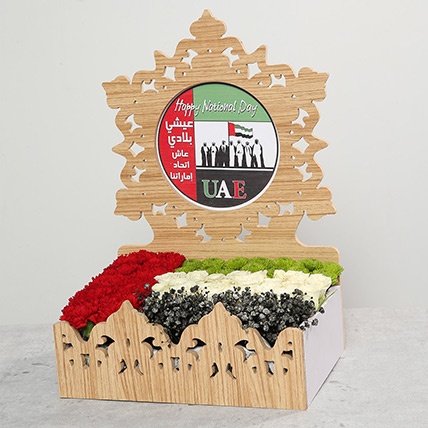 Mixed Flowers In UAE Day Wooden Base: National Day Flowers