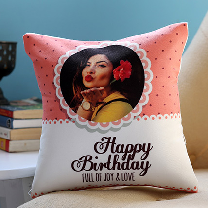 Personalised Joy and Love Birthday Cushion: Personalised Gifts Dubai