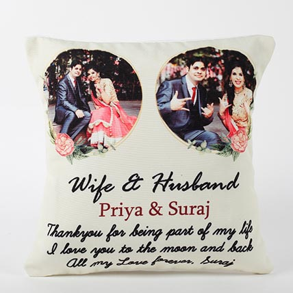 Personalised Wife and Husband Cushion: Karwa Chauth Gifts