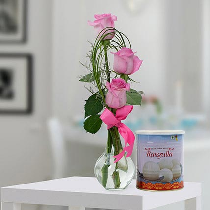 Pink Roses Arrangement and Rasgulla Combo: Diwali Flowers & Sweets