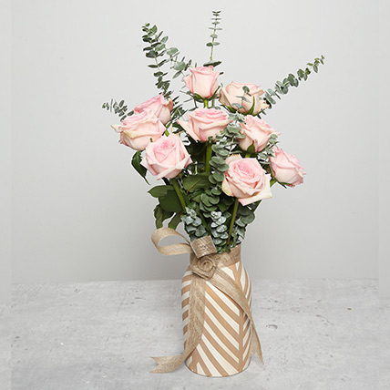Pink Roses in Ceramic Pot: Thanksgiving Day Flowers