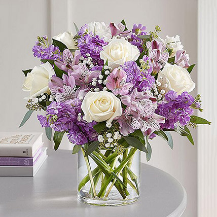Purple and White Floral Bunch In Glass Vase:  Gifts Delivery