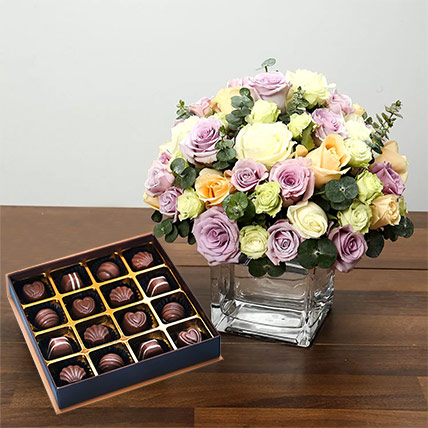 Purple and White Roses Array With Belgian Chocolates: Anniversary Flowers & Chocolates