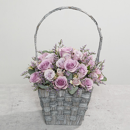 Purple Flowers In Rustic Handle Basket: Basket Arrangements