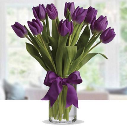 Purple Tulip Arrangement: New Year Gifts