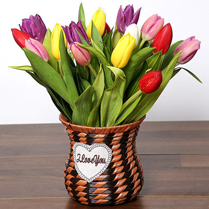 Quaint Mixed Tulips Basket: Birthday Flower Arrangements