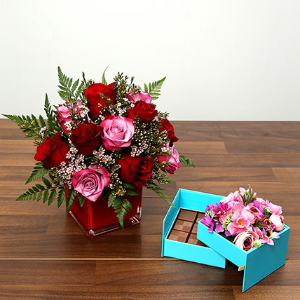 Red and Pink Roses With Belgium Chocolates: Valentine Flowers for Him