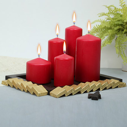 Red Candles and Assorted Chocolates Combo: Candles