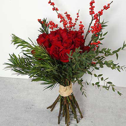 Red Roses and Ilex Berries Bouquet: