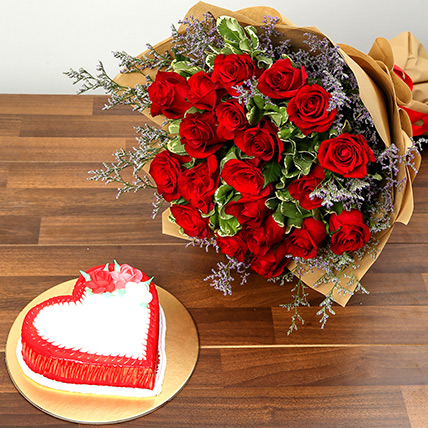 Red Roses and Vanilla Cake Combo: Valentine Day Flowers to Fujairah