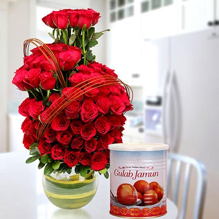 Red Roses Arrangement With Gulab Jamun: Flowers & Sweets