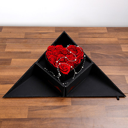 Red Roses In Folding Box: Anniversary Flowers