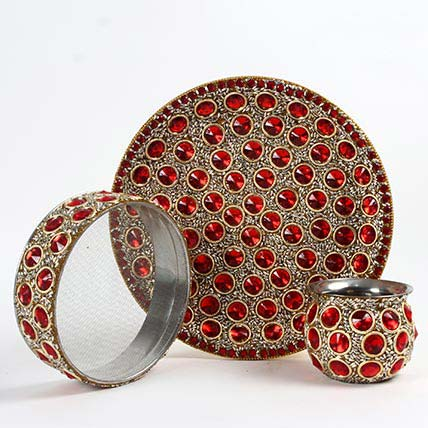 Red Stone and Beads Karwa Thali Set: Karwa Chauth Gifts