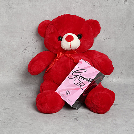 Red Teddy Bear and Guess Girl Perfume Gift Set: