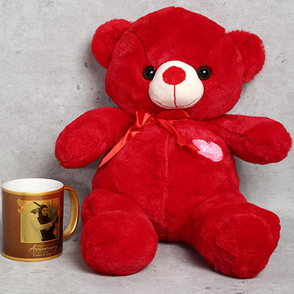 Red Teddy Bear and Personalised Anniversary Mug Gift Set: